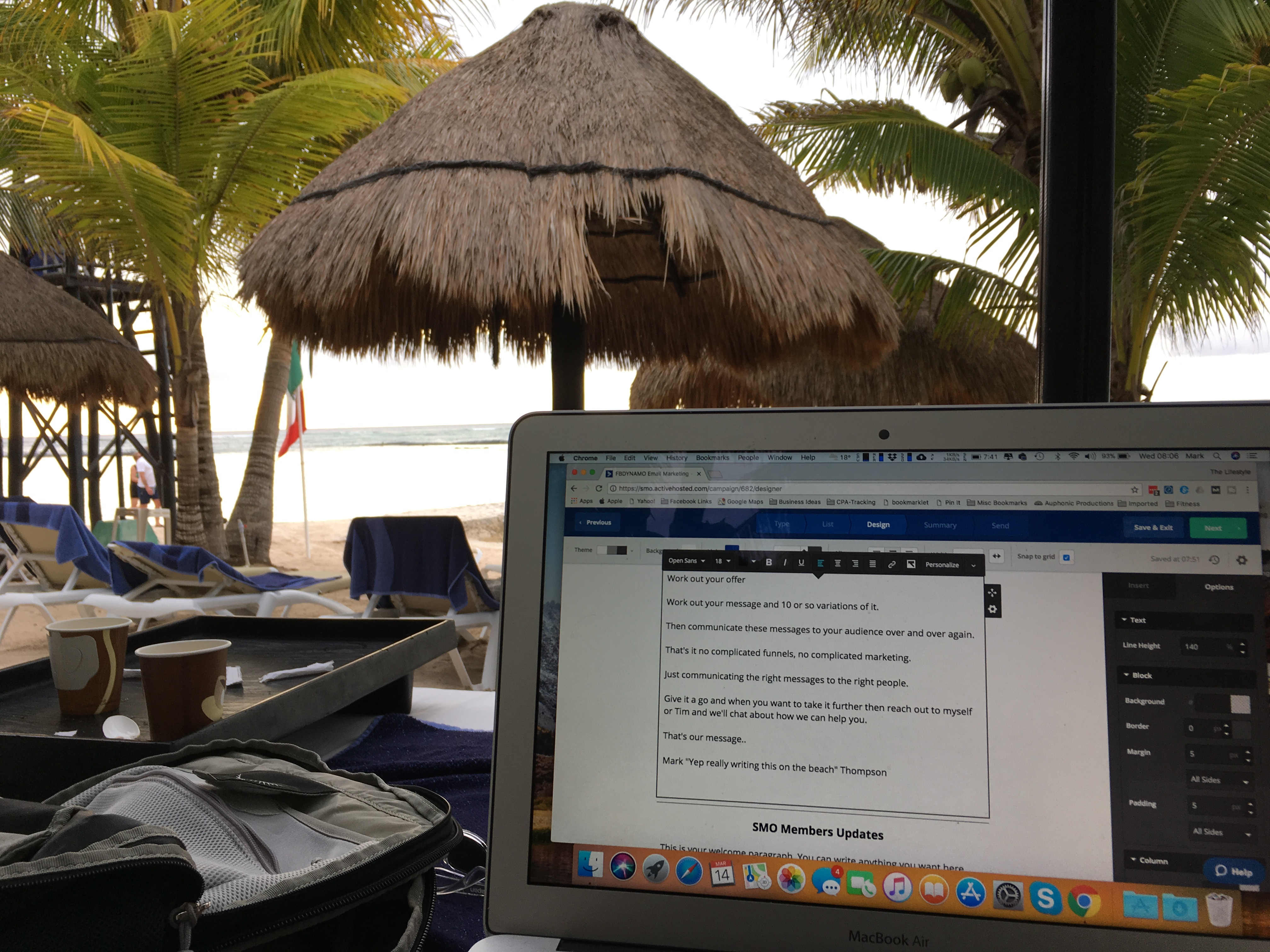 Not a Stock Photo!  This is me writing an email on  a mexican beach
